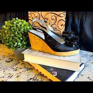 Chinese Laundry black satin sling back wedges